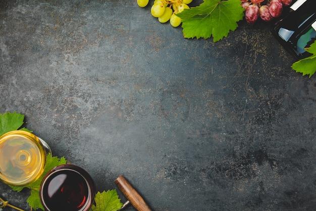 Composición del vino sobre fondo oscuro