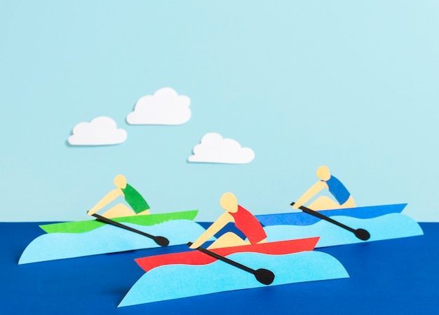 Composición de vista frontal de formas olímpicas de estilo de papel