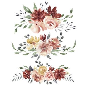 Composiciones florales de acuarela