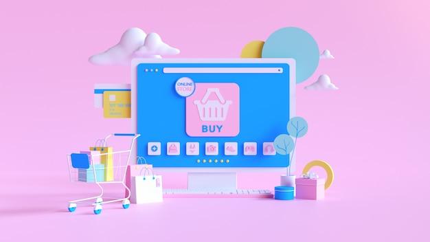 Compra en línea. tienda online en sitio web o aplicación móvil. fondo de renderizado 3d. tienda de marketing digital