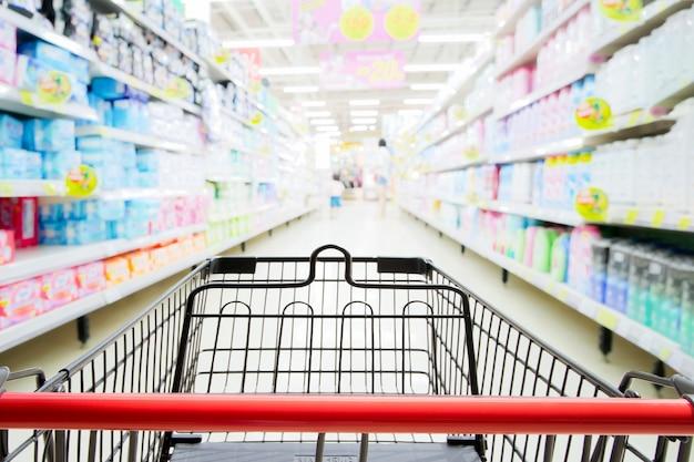 Compras, carrito, supermercado, blured, supermercado, pasillo, estantes, plano de fondo