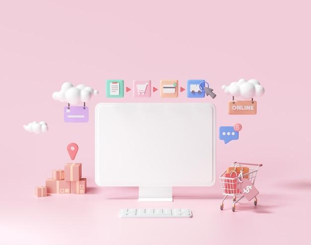 Compras en línea 3d en concepto de página web. tienda online, render 3d