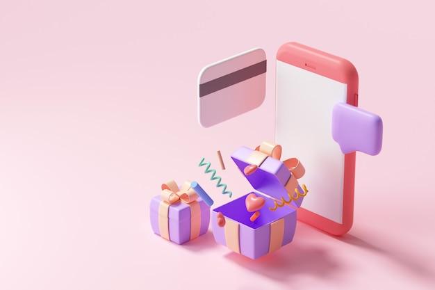 Compras en línea 3d en el servicio de aplicaciones para teléfonos inteligentes, marketing digital, compras en línea y concepto de pago en línea. fondo de banner 3d.