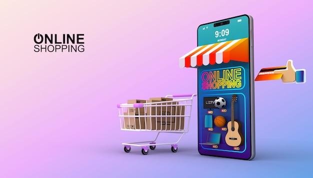 Compras en línea, aplicación móvil, ilustración de renderizado 3d