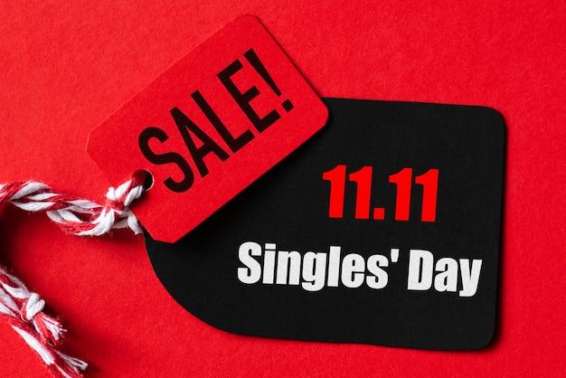Compras en línea de china, 11.11 venta de un solo día. boleto rojo y negro 11.11 venta de un solo día.