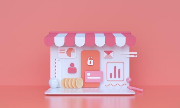 Compras en línea y concepto de marketing en línea fondo de representación 3d