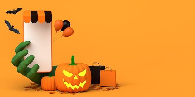 Compras en línea con concepto de teléfono inteligente para la temporada de otoño y el espacio de copia de halloween