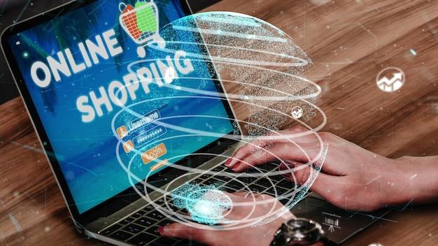 Compras en línea e internet tecnología de dinero conceptual
