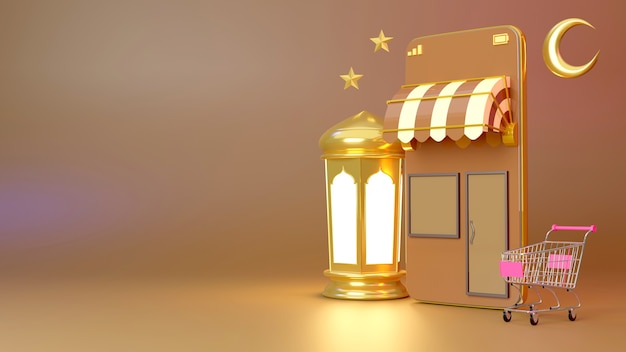 Compras en línea fondo de ramadán kareem por teléfono inteligente, renderizado 3d.