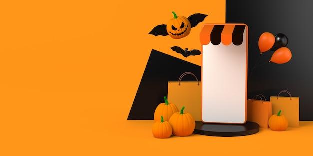 Compras en línea de halloween con smartphone y calabaza murciélago. copie el espacio. ilustración 3d.