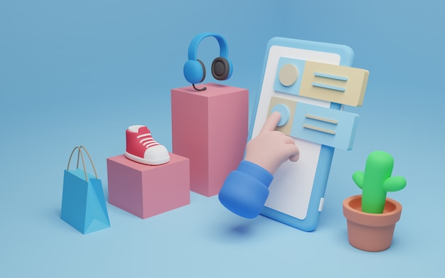 Compras en línea en una ilustración 3d de teléfono inteligente
