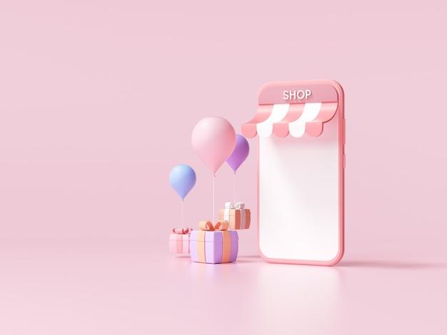Compras en línea mínimas 3d en el servicio de aplicaciones para teléfonos inteligentes, marketing digital, concepto de compra en línea. fondo de banner 3d.