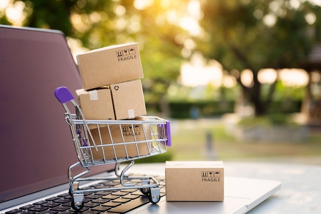 Compras en línea o concepto de servicio de entrega de comercio electrónico