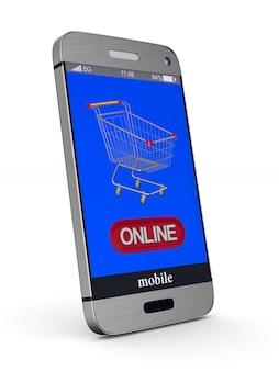 Las compras en línea. representación 3d aislada