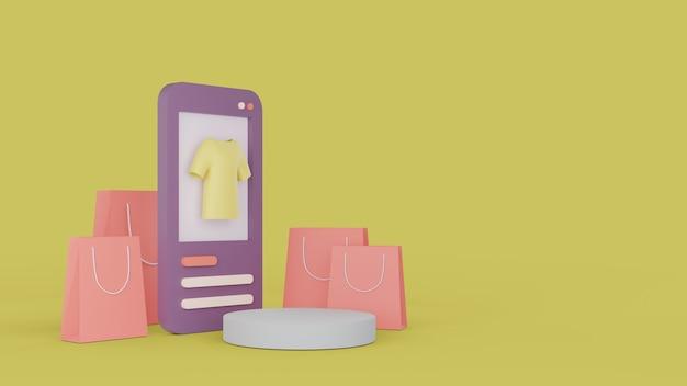 Compras en línea en el sitio web. compras en línea de aplicaciones móviles. concepto de entrega. representación 3d