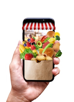 Compras en línea en el sitio web o marketing de concepto de aplicación móvil