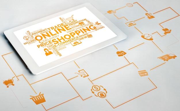 Compras en línea y tecnología de dinero en internet