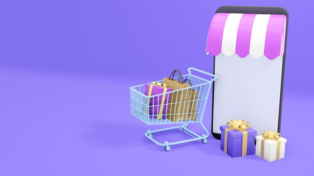 Compras en línea en el teléfono móvil en fondo púrpura. ilustración 3d, renderizado 3d
