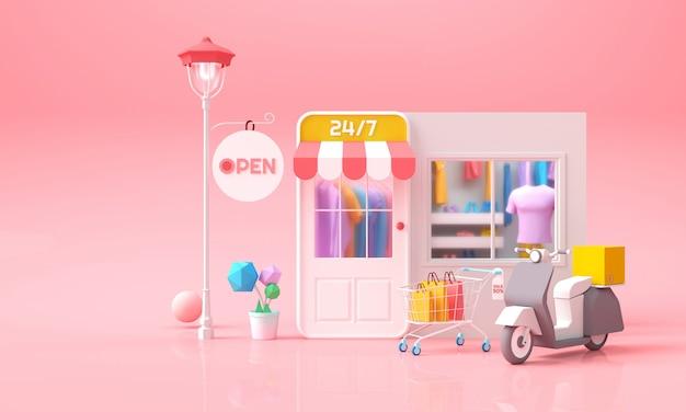 Compras en línea en el teléfono, servicio de tienda en línea móvil con ropa, carro y concepto de paquete de entrega para banner web, plantilla, marketing y marketing digital 3d render ilustración.