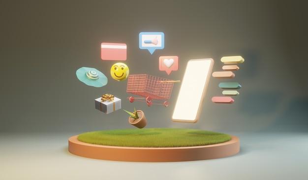 Compras en línea en teléfonos inteligentes. concepto de compras y entrega en línea, ilustración 3d