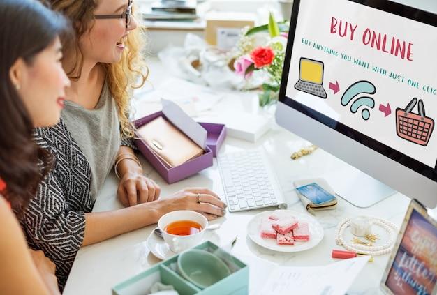 Compras en línea tienda web concepto de compras electrónicas