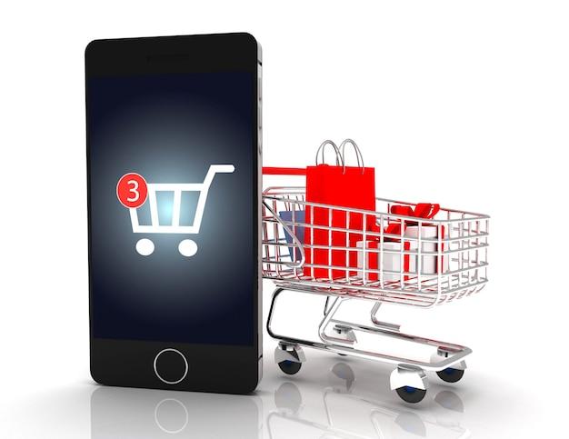 Compras móviles. teléfono inteligente con carrito. 3d rindió la ilustración