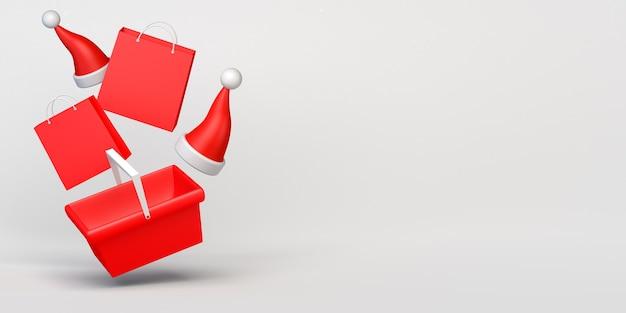 Compras navideñas con bolsas de compras y gorros de papá noel. copie el espacio. ilustración 3d.