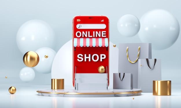 Compras online en sitios web o aplicaciones móviles conceptos de marketing y marketing digital.