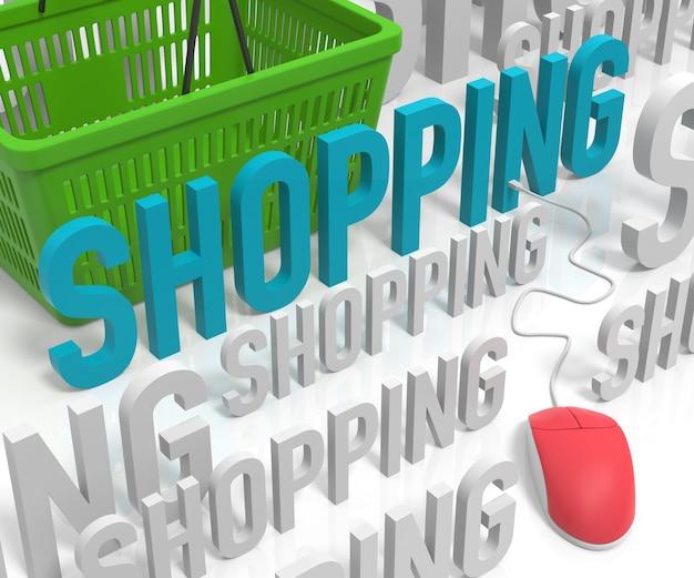 Compras de texto con el ratón de la computadora y la cesta de la compra. representación 3d
