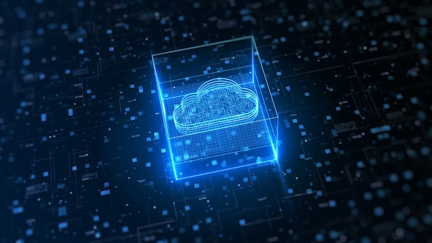 Computación en la nube de alta tecnología y seguridad cibernética. protección de la red de datos digitales.