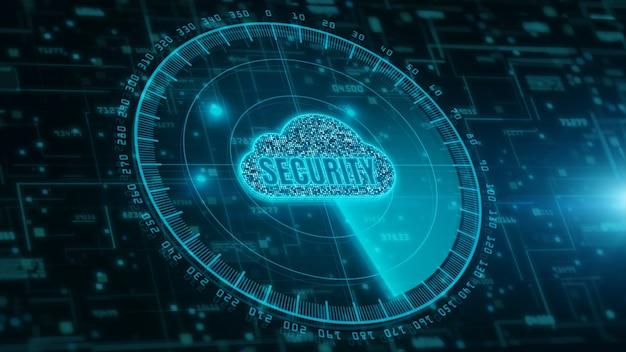 Computación en la nube digital y escaneo de radar de seguridad cibernética. protección de la red de datos digitales