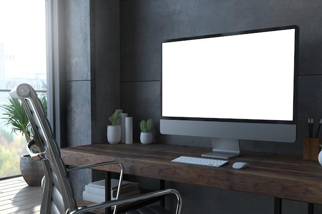 Computadora blanca en renderizado 3d de escritorio mínimo