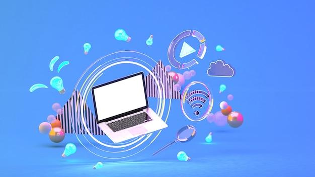 Computadora en un círculo de luz entre los iconos de redes sociales y bolas de colores en el azul. representación 3d