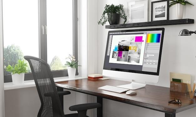 Computadora en el escritorio de diseño gráfico en blanco y negro. representación 3d