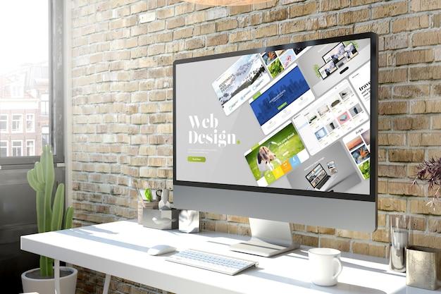 Computadora en el escritorio de diseño web de renderizado 3d