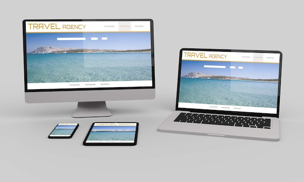 Computadora de escritorio voladora, móvil y tableta representación 3d que muestra el diseño web receptivo senior de viajes.ilustración 3d