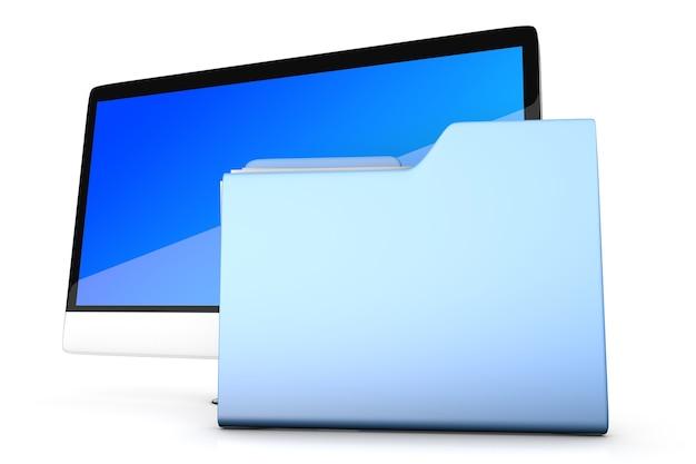 Una computadora moderna todo en uno con una carpeta de datos.