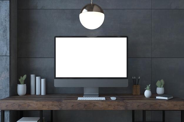 Computadora de pantalla blanca en una representación 3d de escritorio