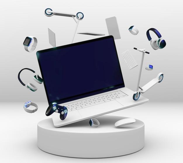 Computadora portátil y auriculares para el cyber monday