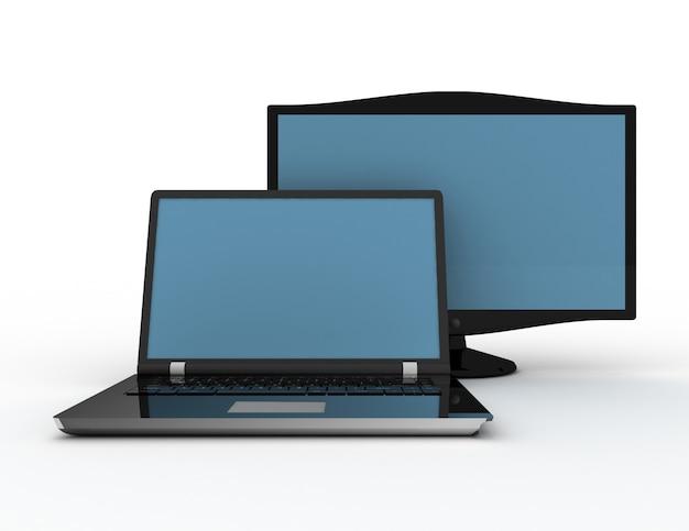 Computadora portátil moderna y la pantalla sobre un fondo blanco ilustración 3d renered