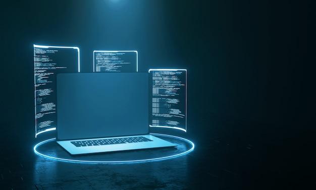Computadora portátil con pantalla de holograma que muestra el código fuente