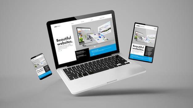 Computadora portátil voladora, móvil y tableta representación 3d que muestra el diseño web sensible del sitio web del constructor