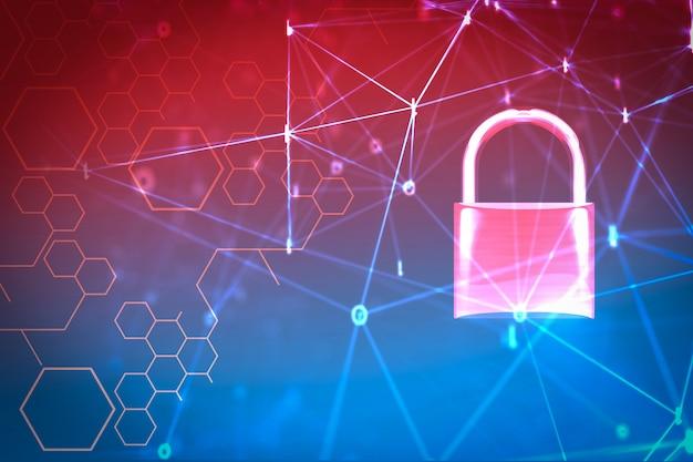 Computadora de sistemas de seguridad de datos con candado cerrado