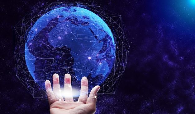 Comunicación creativa moderna y red de internet se conectan en ciudad inteligente