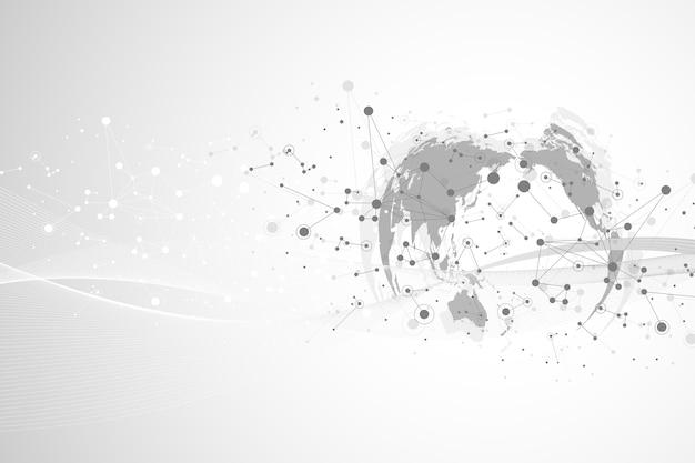 Comunicación virtual gráfica de fondo con el globo terráqueo. un sentido de la ciencia y la tecnología. visualización de datos digitales, ilustración.
