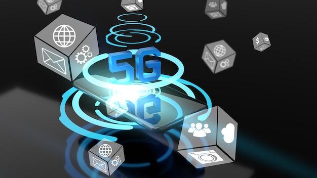 Comunicaciones de alta velocidad a través de teléfono móvil. pantalla virtual abstracta sobre la pantalla del teléfono inteligente, renderizado 3d