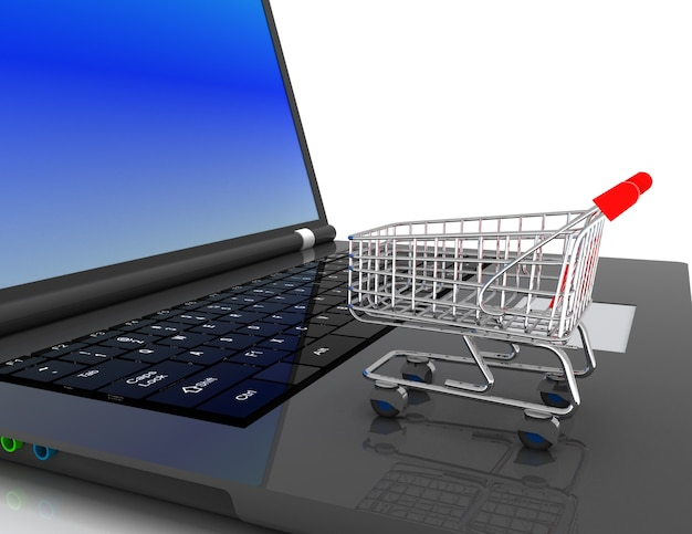 Concepto 3d de compras en línea