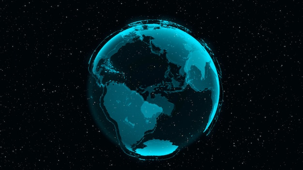 Concepto de 3d digital earth de red global