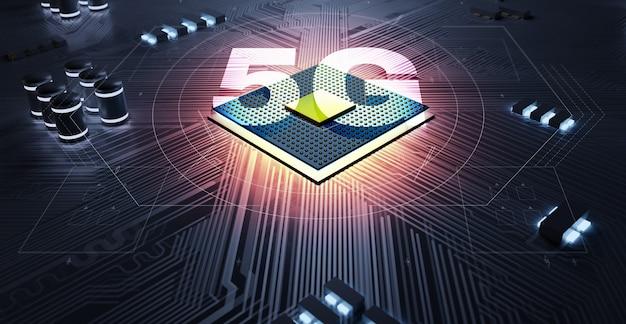 Concepto 5g del chipset de la cpu del circuito de representación 3d