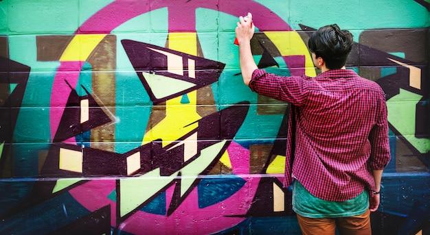 Concepto abstracto del espray de la cultura del arte de la calle de la pintada